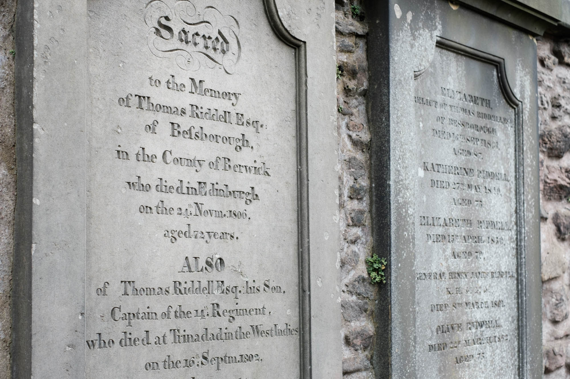 Thomas Riddell Greyfrias Kirkyard Edinburgh