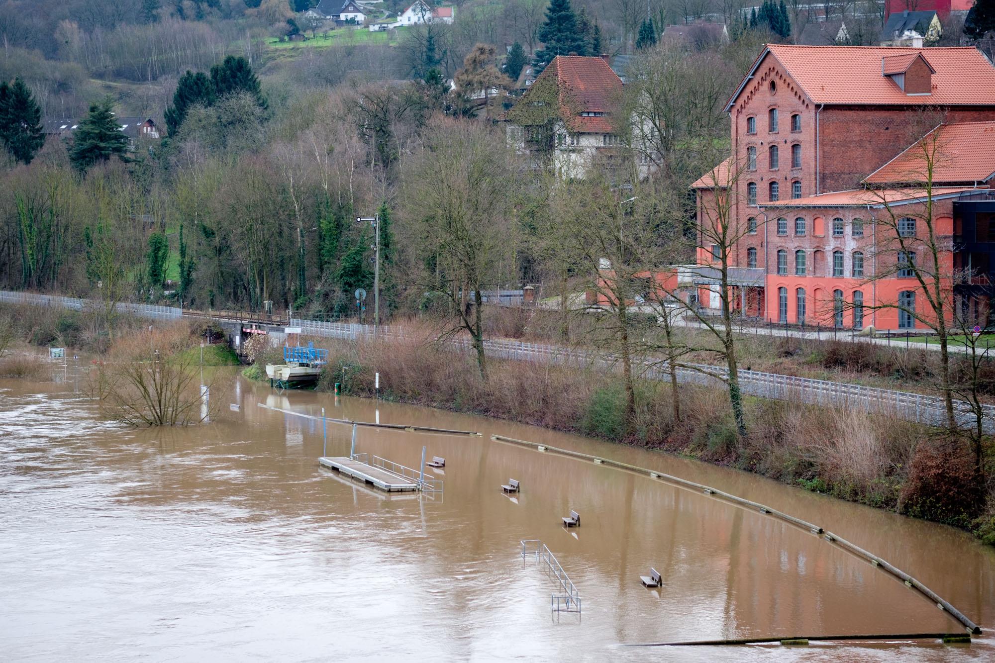 Hochwasser Vlothoer Hafen