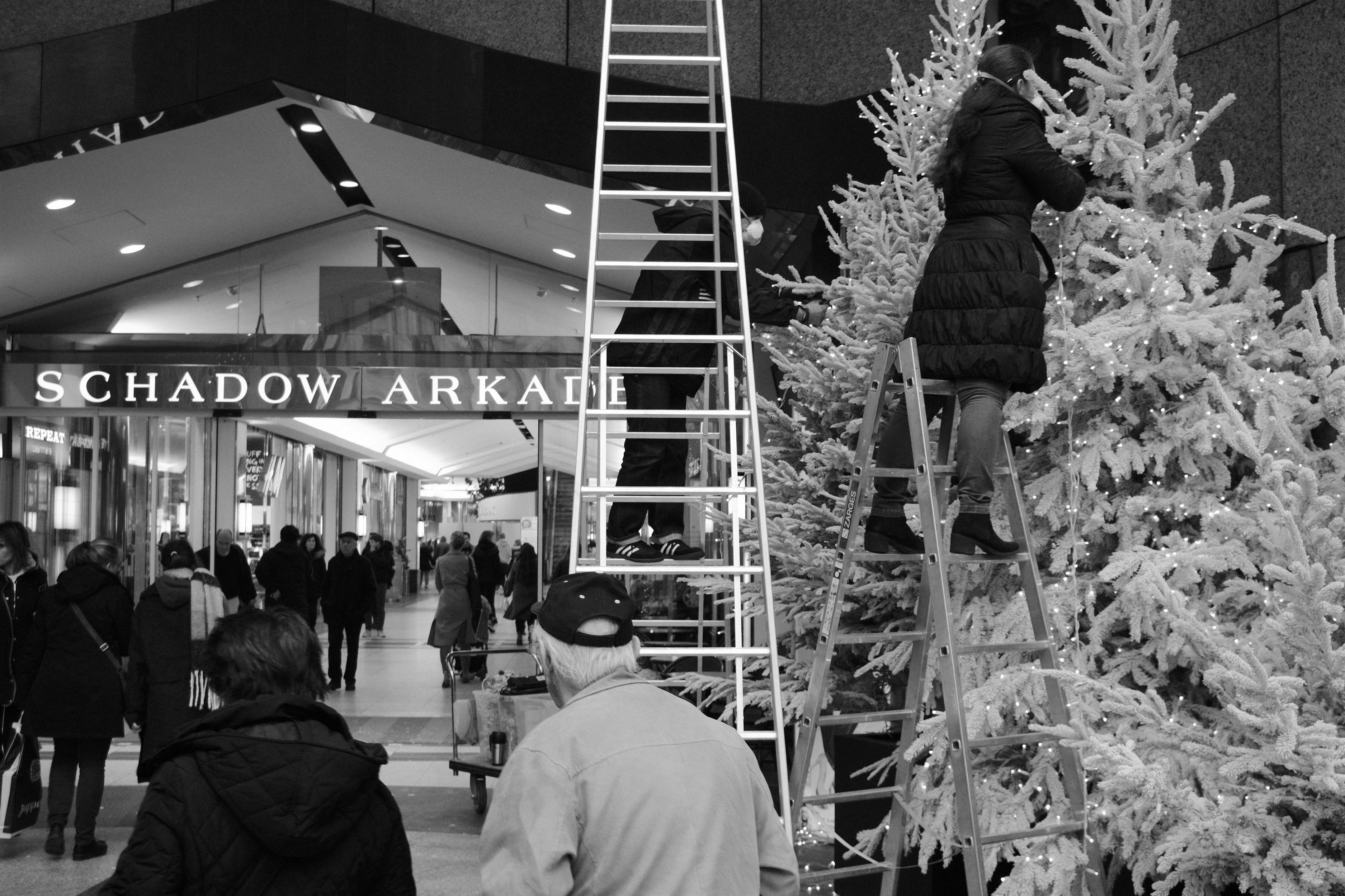 Düsseldorf Schadow Arkade Weihnachtsbäume