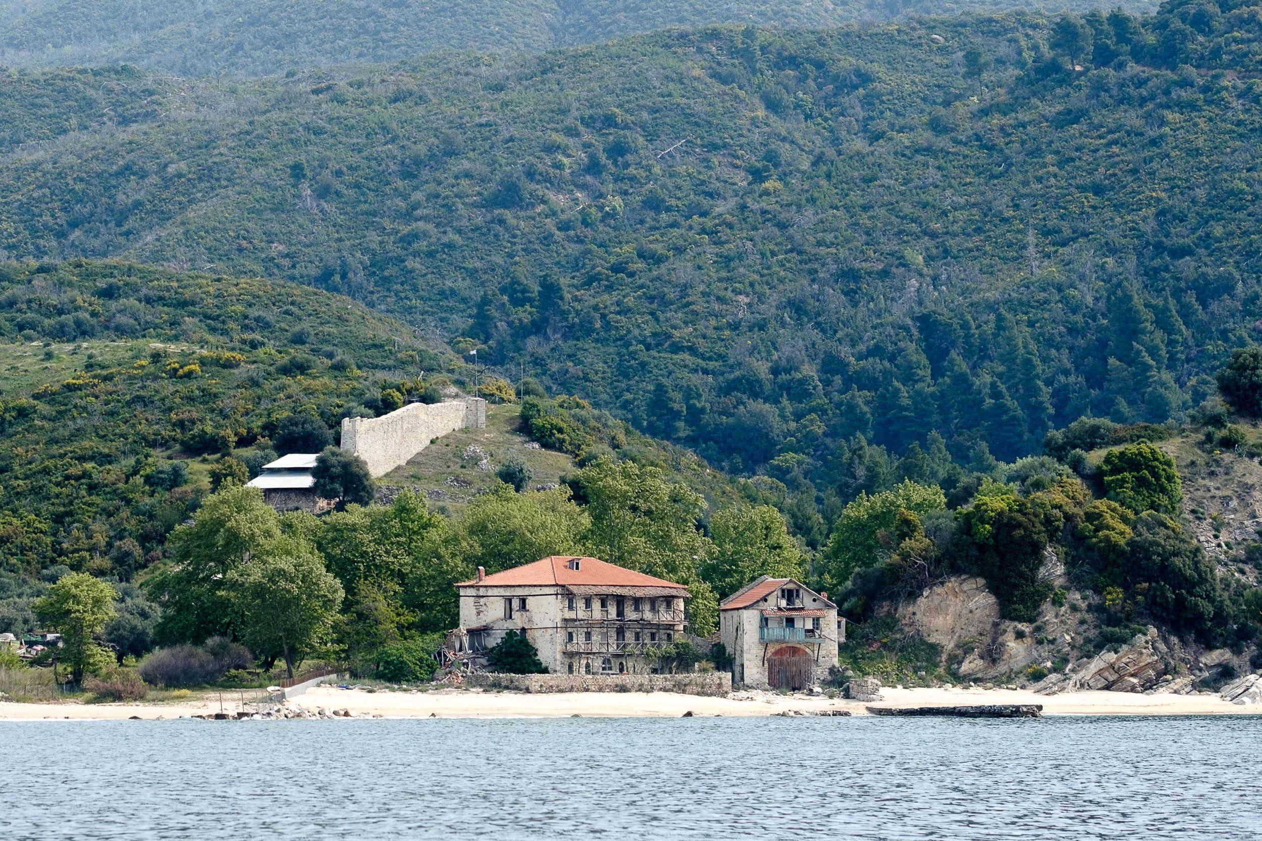 Grenze Mönchsrepublik Athos, Griechenland, Ägäis