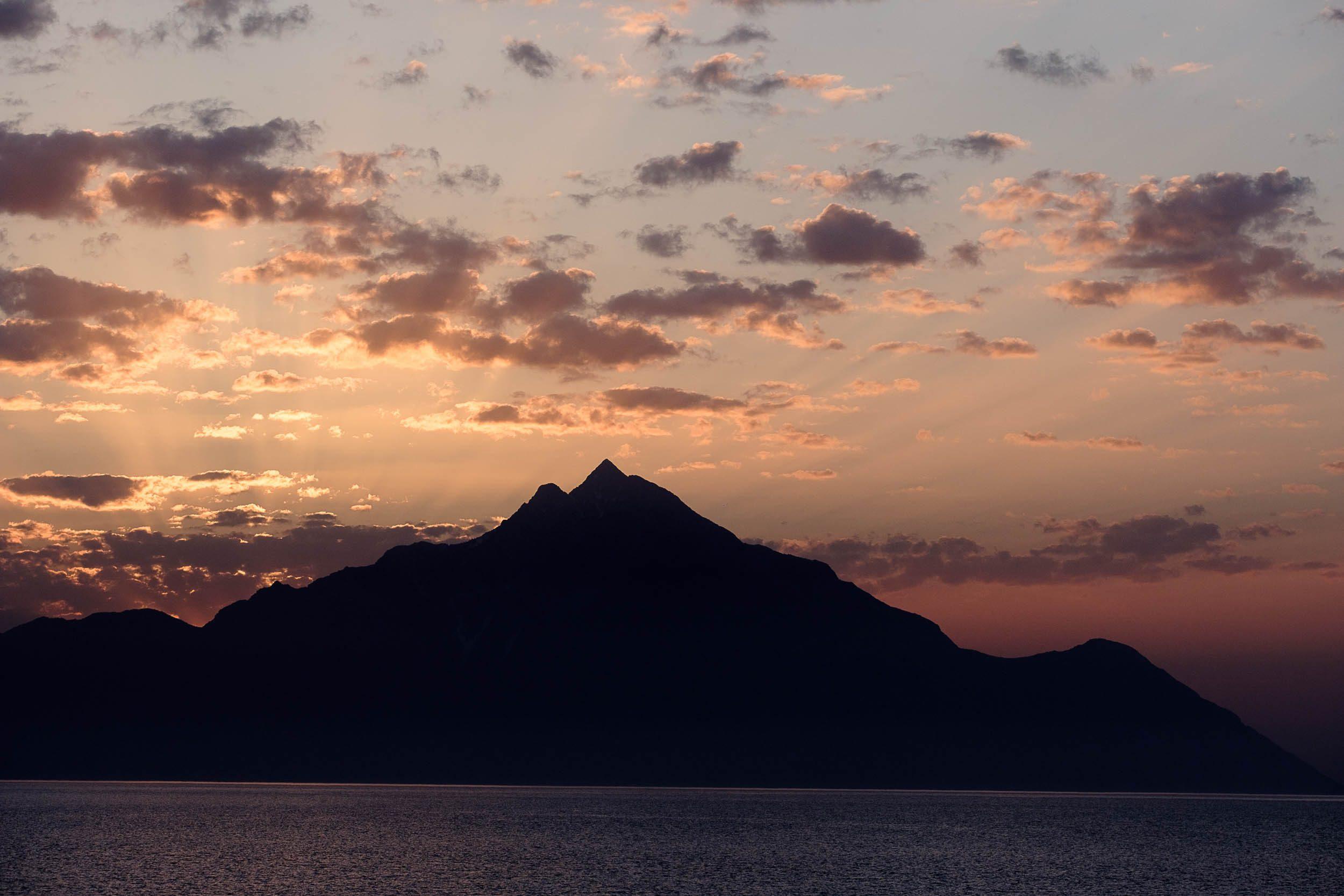 Sonnenaufgang Berg Athos Mönchsrepublik Athos, Griechenland, Ägäis