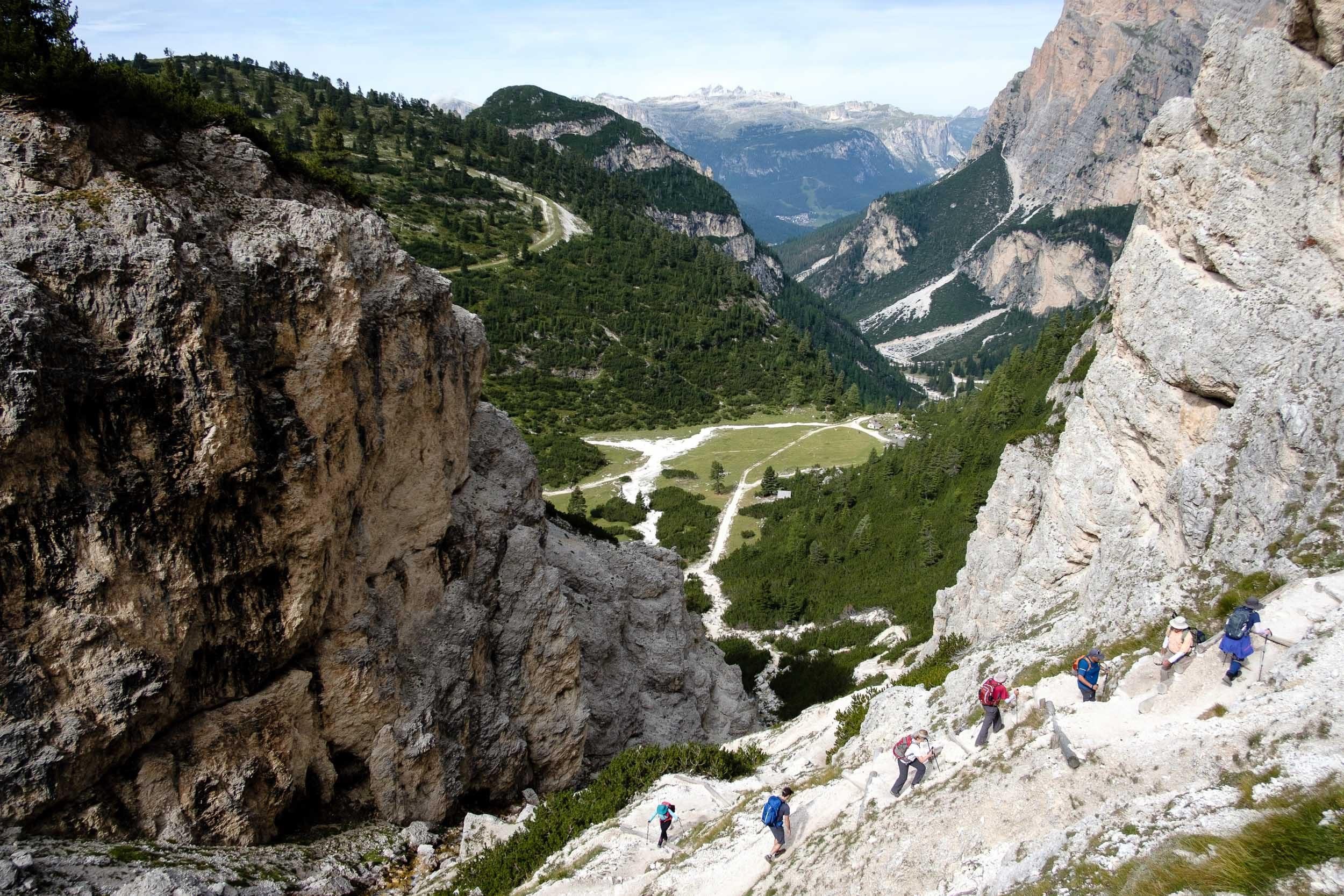 Aufstieg über Scotoni Hütte, Dolomiten