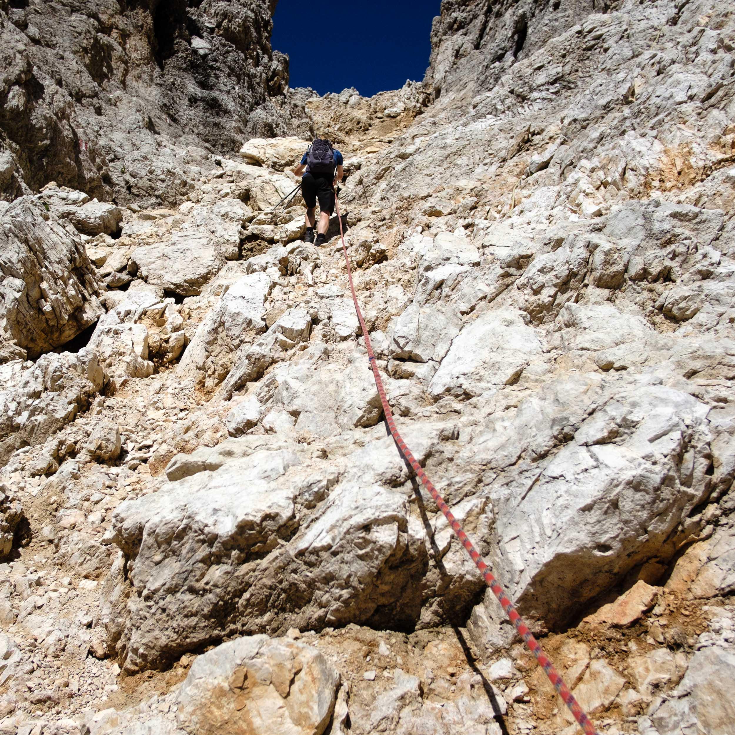 Aufstieg Sella, Dolomiten, Italien