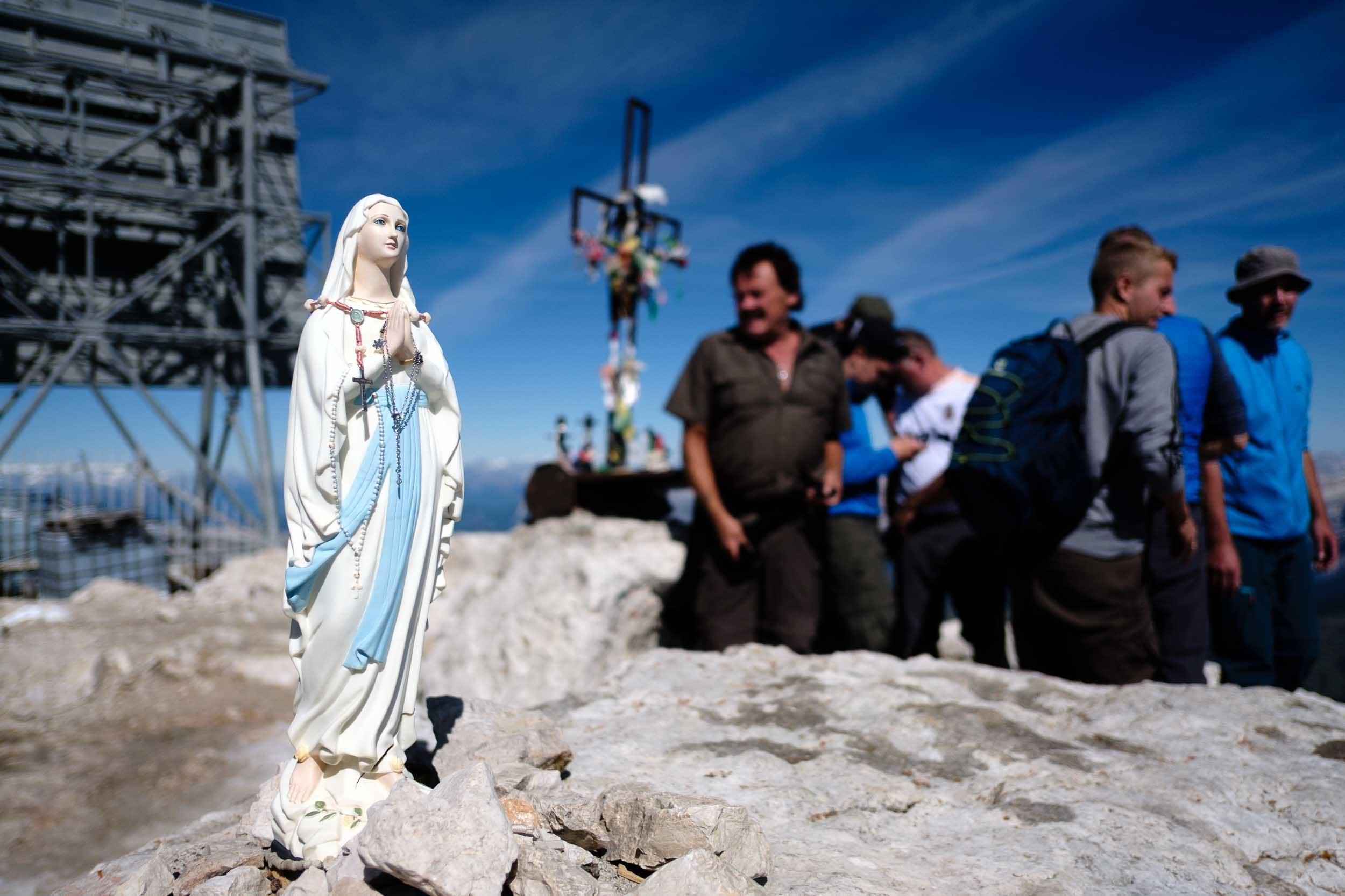 Marien Statue, Piz Boé, Sella, Dolomiten, Italien