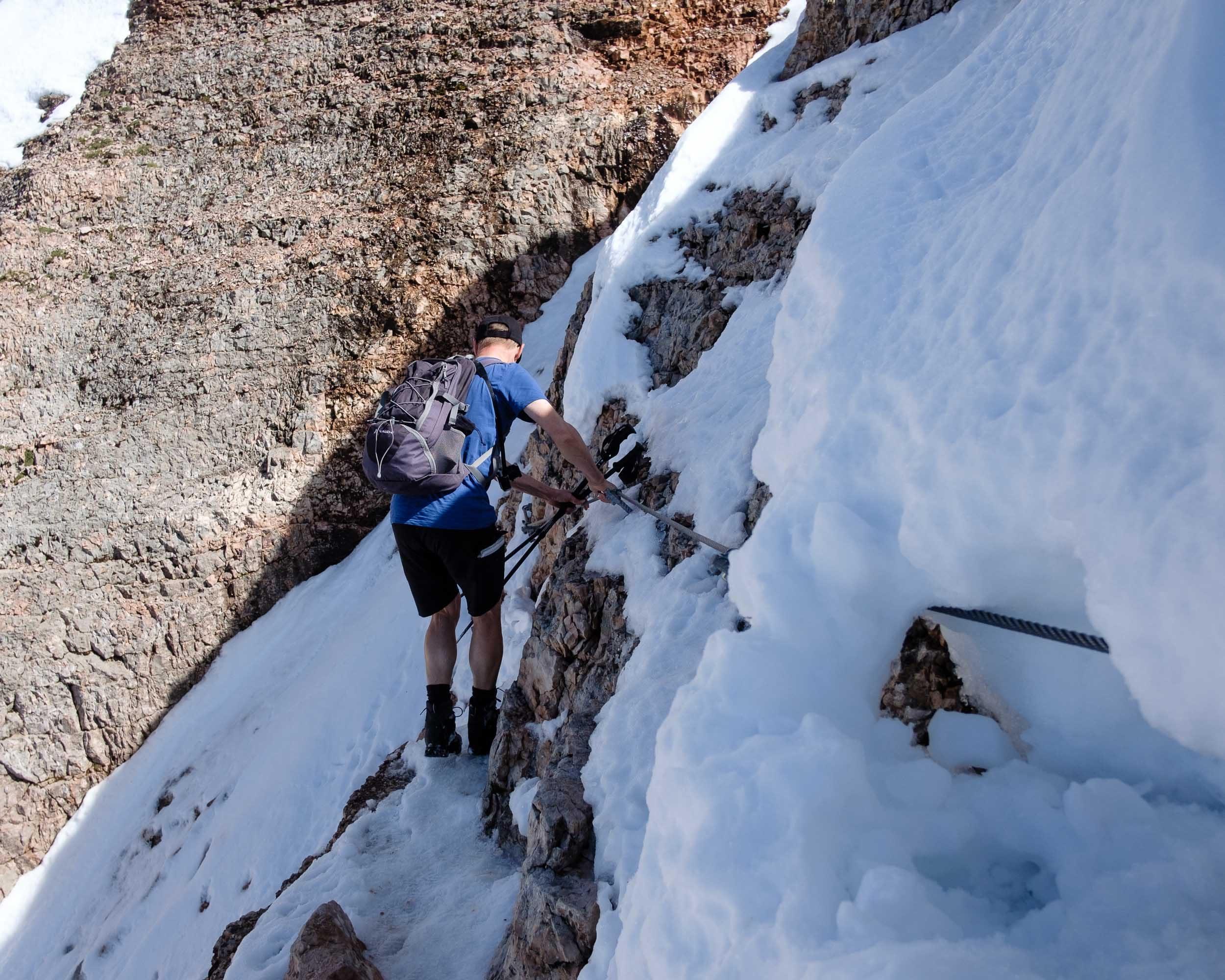 Abstieg, Piz Boé, Sella, Dolomiten, Italien