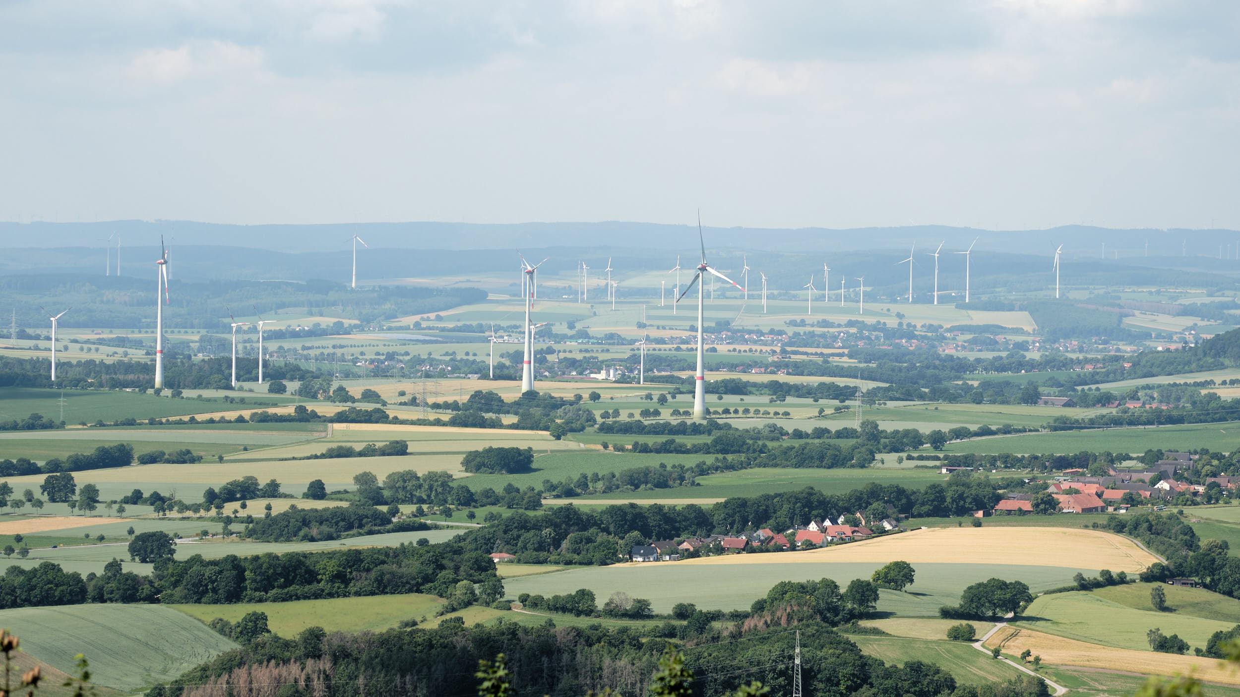 Ausblick vom Köterberg auf die Windräder der Region
