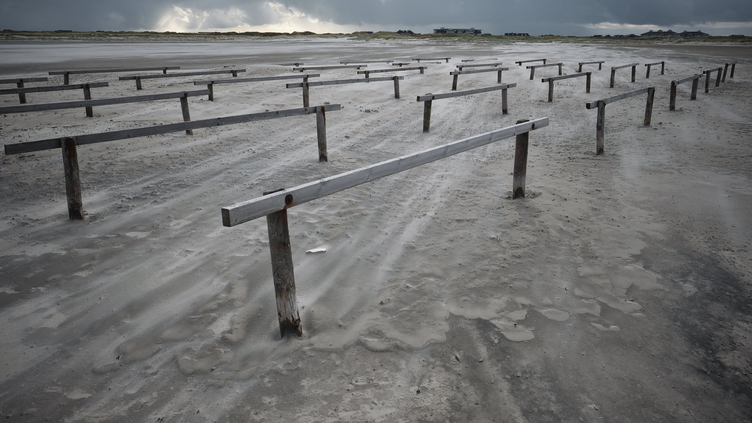 Sand, Fahrradständer Strand Sankt-Peter-Ording