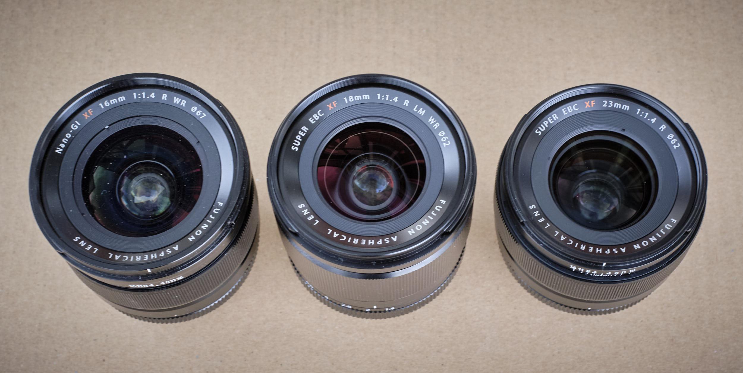 Größenvergleich Fujinon XF18mm/f1.4, Fujinon XF23mm/f1.4 und Fujinon XF16mm/f1.4