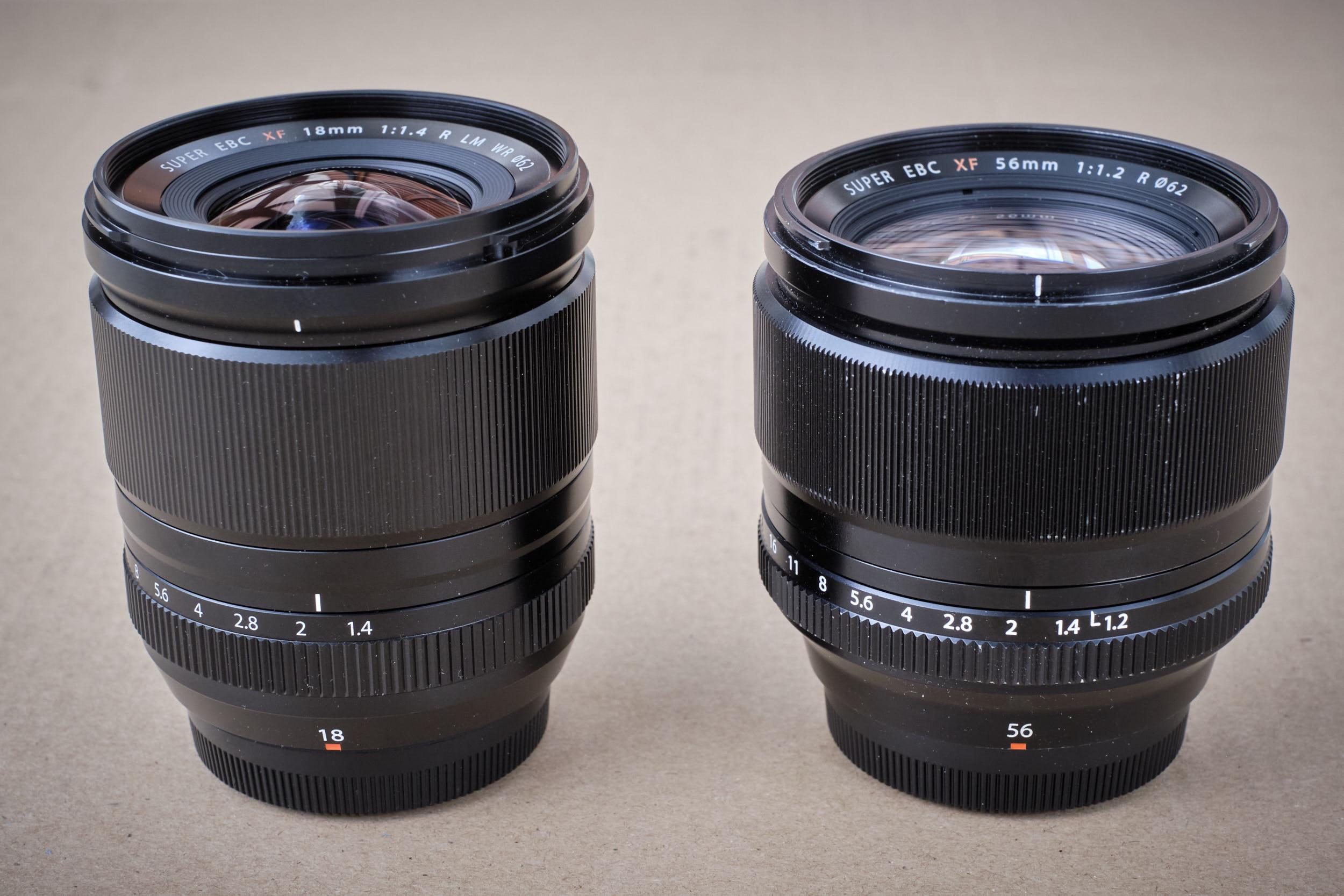 Größenvergleich XF18mm/f1.4 R LM WR  zum XF56mm/1.2 R